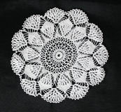 White pattern crochet tablecloth Royalty Free Stock Photography