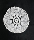 White pattern crochet tablecloth. Pattern of white  crochet tablecloth Royalty Free Stock Images