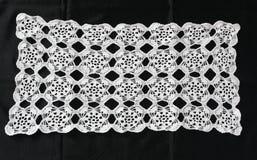 White pattern crochet tablecloth Stock Photo