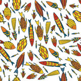 White pattern with fishes in a chaotic manner Royalty Free Stock Image