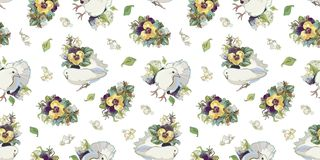 White pattern with flower bouquet and bird. royalty free illustration