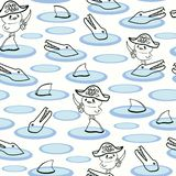 White pattern with line art duck pirat. royalty free illustration