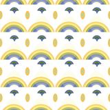 White pattern with rainbow and ornaments. royalty free illustration