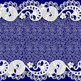 White pattern with small curls decorated with lacy border Stock Photos