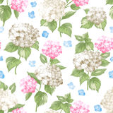 White pattern of summer flowers. Background swatch made of blossom pink flowers. Seamless illustration. Vector flowers Royalty Free Stock Photography