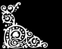 White patterned corner on black Royalty Free Stock Images