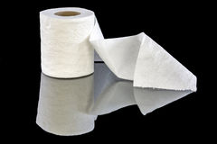White patterned toilet paper in a roll Stock Images