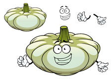White pattypan squash vegetable cartoon character. Pattypan squash or pumpkin vegetable cartoon character with large green stalk and cute smiling face for Royalty Free Stock Images