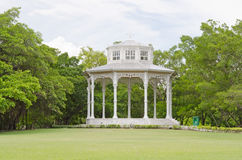 White pavilion in the park of thailand Stock Image