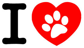 White paw print in a heart and letter i royalty free stock images