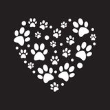 White Paw Prints In Heart Shape Vector Minimal Illustration Stock Photo