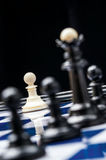White pawn against black pieces. White pawn on the chessboard in front of black pieces royalty free stock images
