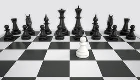 Free White Pawn Before The Army Of Black Chess Pieces Royalty Free Stock Photo - 40572715