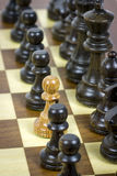 White pawn on black rows Stock Photos