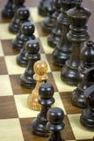 White pawn on black rows stock photos