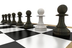 White pawn defecting to black side Stock Images