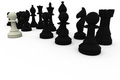 White pawn facing black opposition Royalty Free Stock Photos
