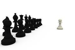 White pawn facing black pieces Stock Photo