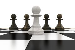 White pawn in front of black pawns Royalty Free Stock Photo