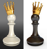 White pawn with a golden crown Stock Image