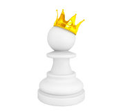 White pawn with a golden crown Stock Photo