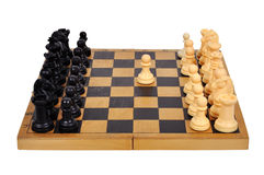 White pawn move. White pawn makes the first move, close up Stock Image