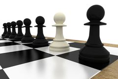 White pawn standing with black pawns Stock Photos