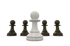 White pawn standing in front of black pawns Stock Images