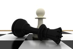 White pawn standing over fallen black queen Royalty Free Stock Image