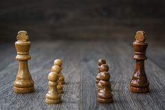 White Pawns Against Kings Royalty Free Stock Photo