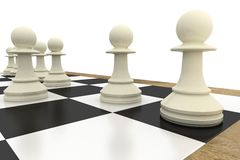 White pawns on chess board. On white background Royalty Free Stock Image