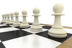 White pawns on chess board Stock Photography