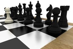 White pawns facing black team Royalty Free Stock Photography