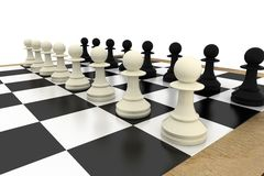 White and pawns facing off on board Royalty Free Stock Photos