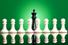 White pawns in front of a black king Royalty Free Stock Images