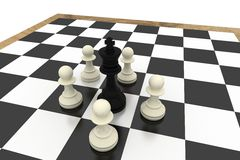 White pawns surrounding black king Stock Images