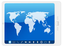 White Pc tablet with world map Royalty Free Stock Photography