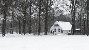 White Peace!. A bungalow house during snow in Assen, Netherlands - January 2017 Stock Photo