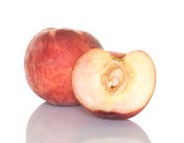 White Peach And A Half Stock Photo