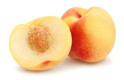 White peach. Sliced white peach path stock photos