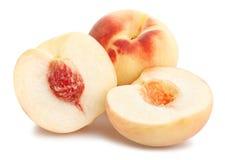 White peach. Sliced white peach path isolated stock photos