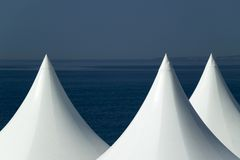 White Peaked Tents. On the beach in Nice, France Royalty Free Stock Photography