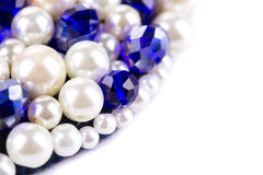 White pearl and blue strass. Royalty Free Stock Image