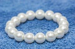 White pearl bracelet Stock Images