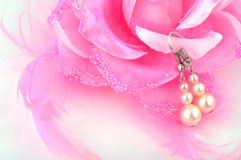 White pearl earrings Stock Images