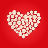 White Pearl Heart on Red Valentaine Day Background Royalty Free Stock Photo