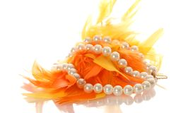 White pearl necklace isolated Stock Photography