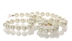 White pearl necklace isolated Royalty Free Stock Photo