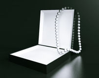 White Pearl Necklace over Black Box Stock Photography