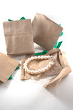 White pearl in paper bag Stock Photo